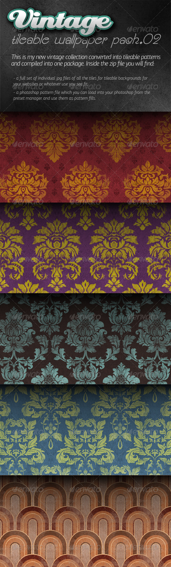 Vintage Tileable Wallpaper Pack 02 - Patterns Backgrounds