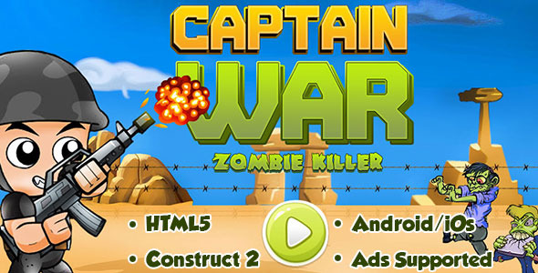 Captain War : Zombie Killer - HTML5 Android (CAPX) - CodeCanyon Item for Sale