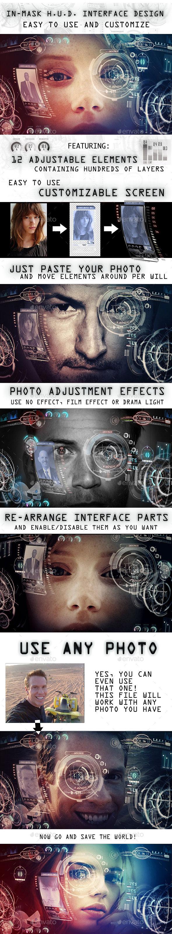 In Mask H.U.D. Interface Design Mock-up - Tech / Futuristic Backgrounds