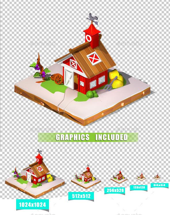 Barn Isometric - Objects 3D Renders