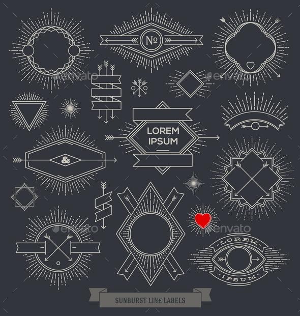 Set of Line Design Emblem, Sign and Hipster Labels - Vectors