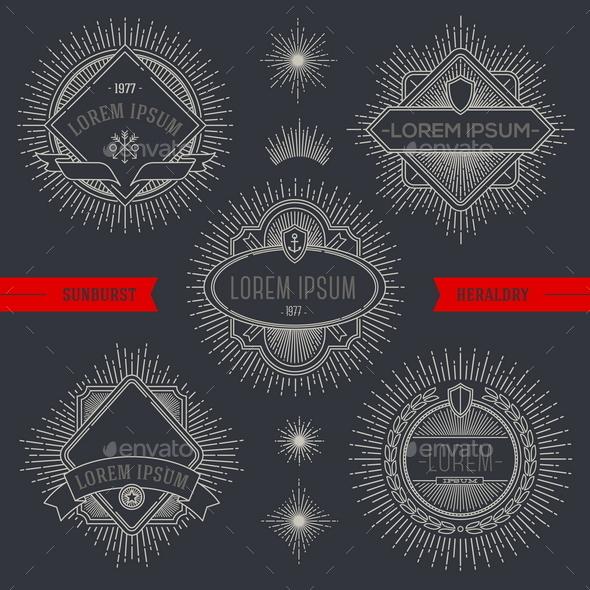Set of Heraldic Emblems and Labels - Vectors