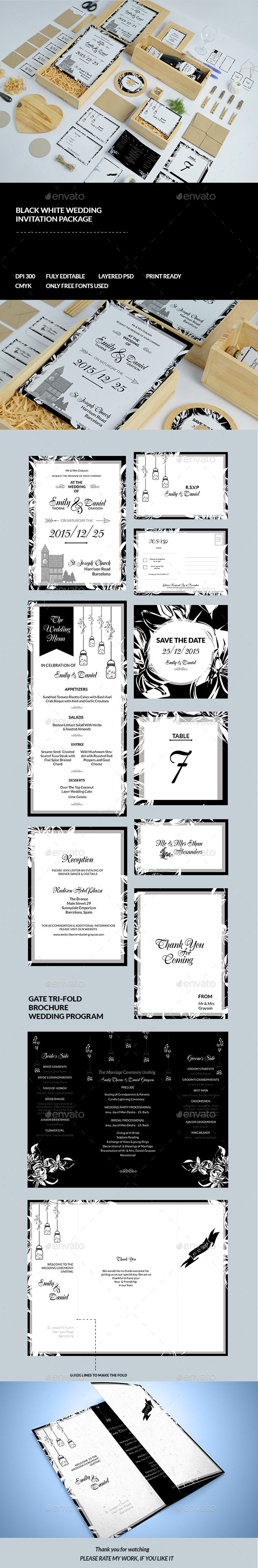 Black & White Wedding Invitation Pack - Cards & Invites Print Templates