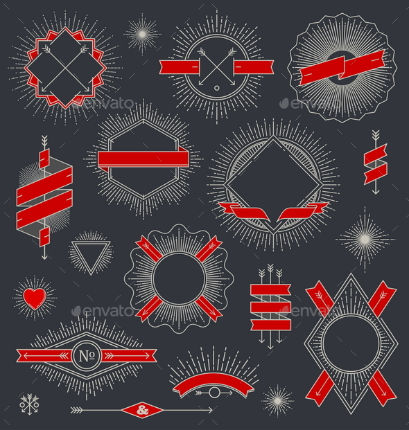 Set of Line Design Emblems - Decorative Symbols Decorative