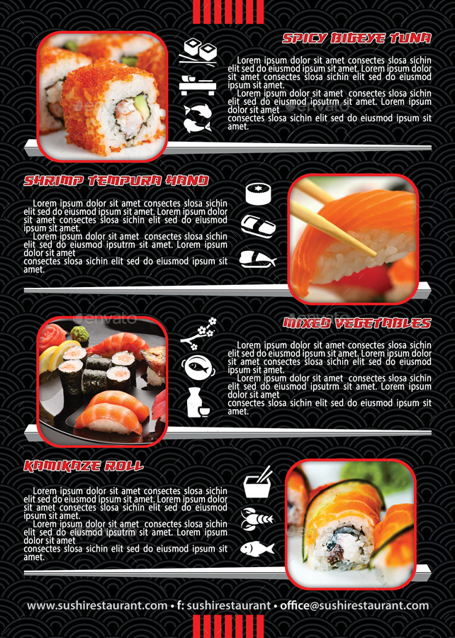 Sushi Restaurant Menu Flyer Template  By Min  Graphicriver