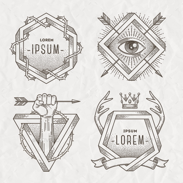 Tattoo Style Line Art Emblem - Decorative Symbols Decorative