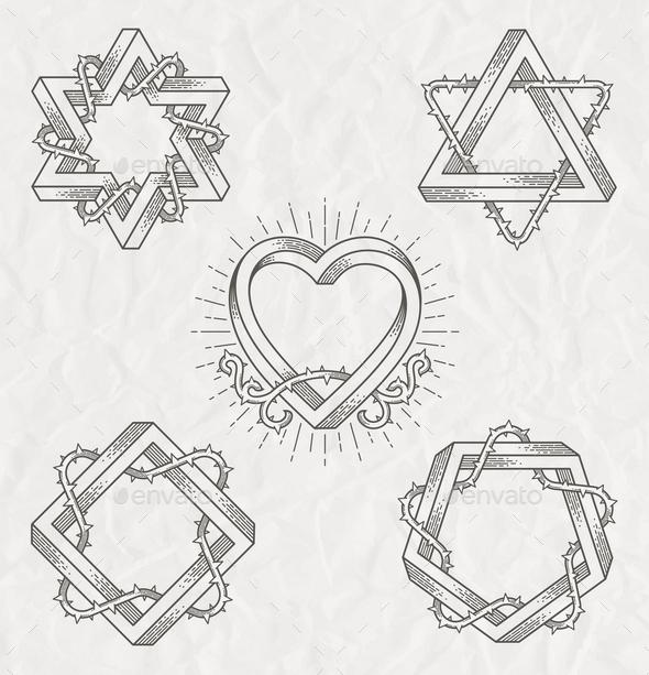 Line Art Emblems - Decorative Symbols Decorative