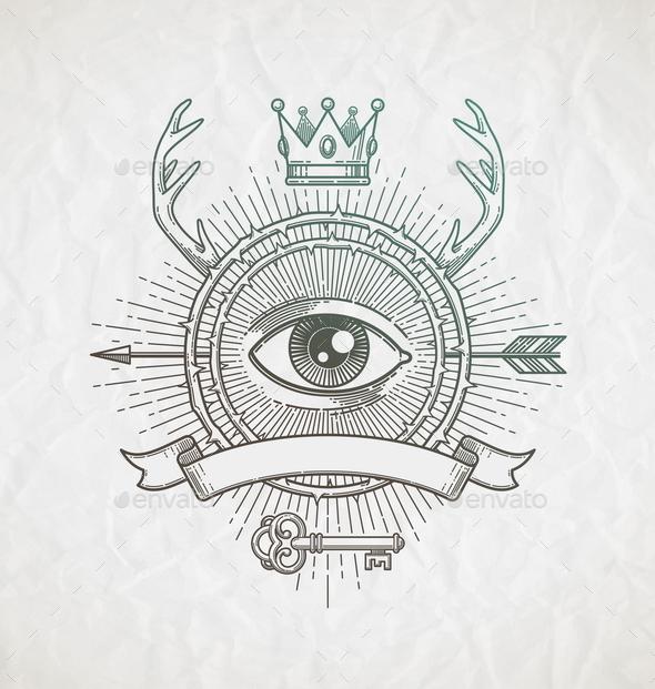 Abstract Tattoo Style Line Art Emblem - Decorative Symbols Decorative