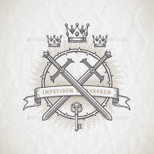 Line Art Heraldic Emblem - Decorative Symbols Decorative