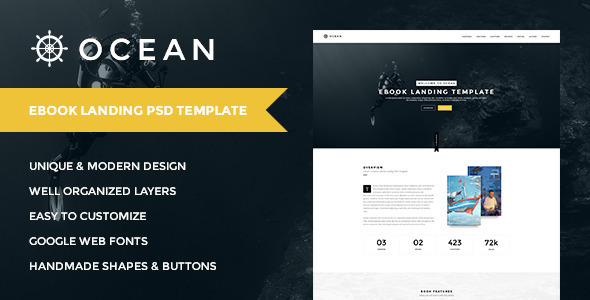 OCEAN | Creative Onepage eBook Landing PSD Templat - Marketing Corporate