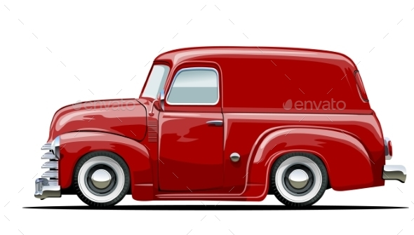 Cartoon Retro Delivery Van - Man-made Objects Objects