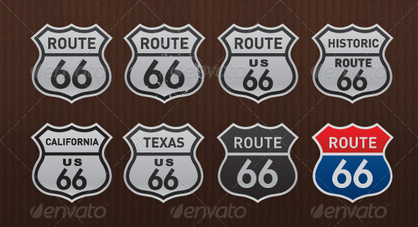 Route 66 Historic USA Road Signs Pack - Travel Conceptual