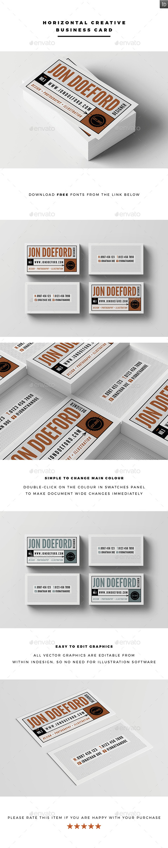 Horizontal Creative Business Card - Creative Business Cards