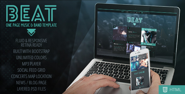 Beat –  One-Page HTML5 Music & Band Template