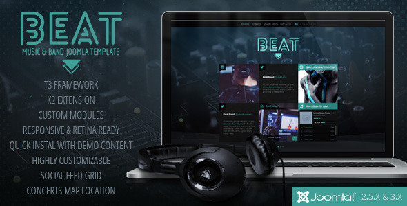 Beat – One Page Music & Band Joomla Template