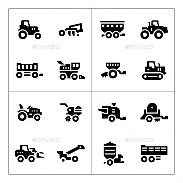 Set Icons of Agricultural Machinery - Man-made objects Objects