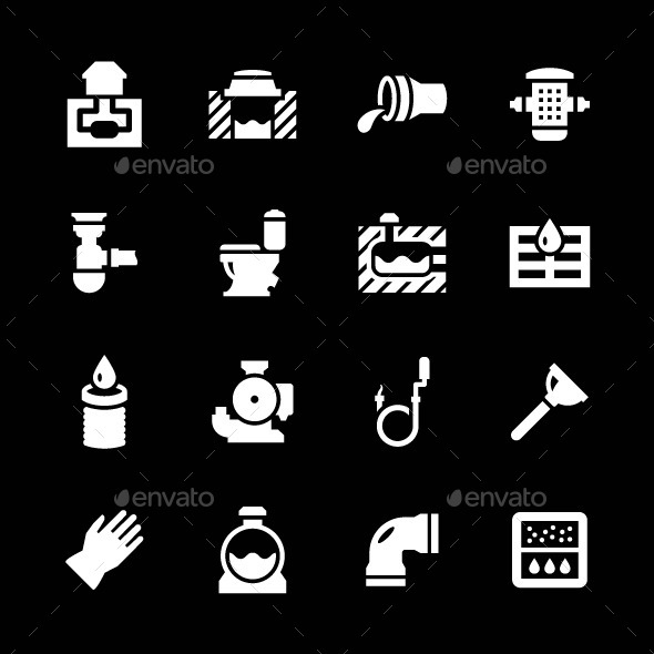 Set Icons of Sewerage - Man-made objects Objects