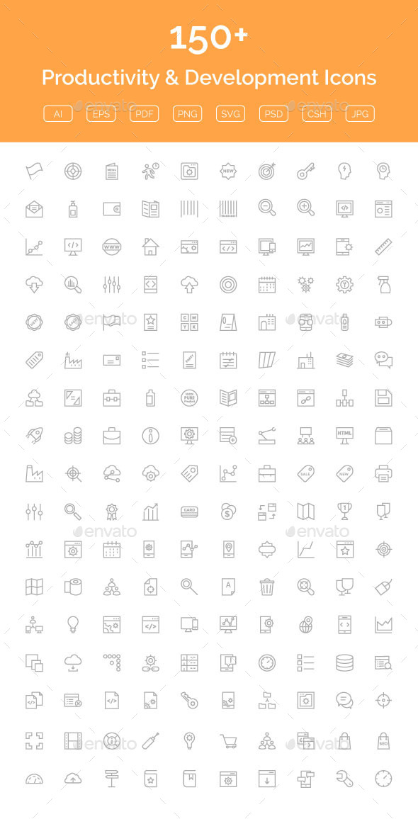 150+ Productivity & Development Icon - Web Icons
