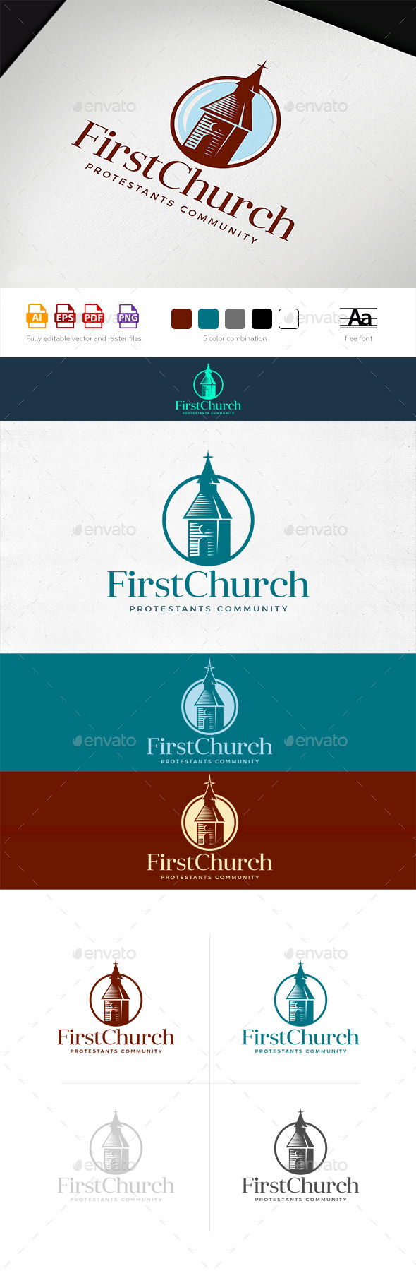 First Community Church Logo Template - Buildings Logo Templates