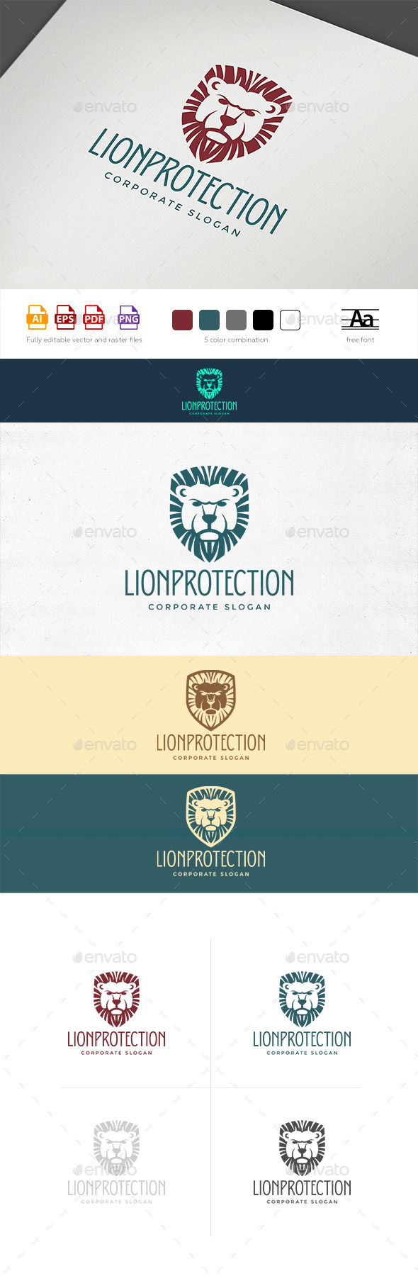 Lion Shield Logo Template - Crests Logo Templates
