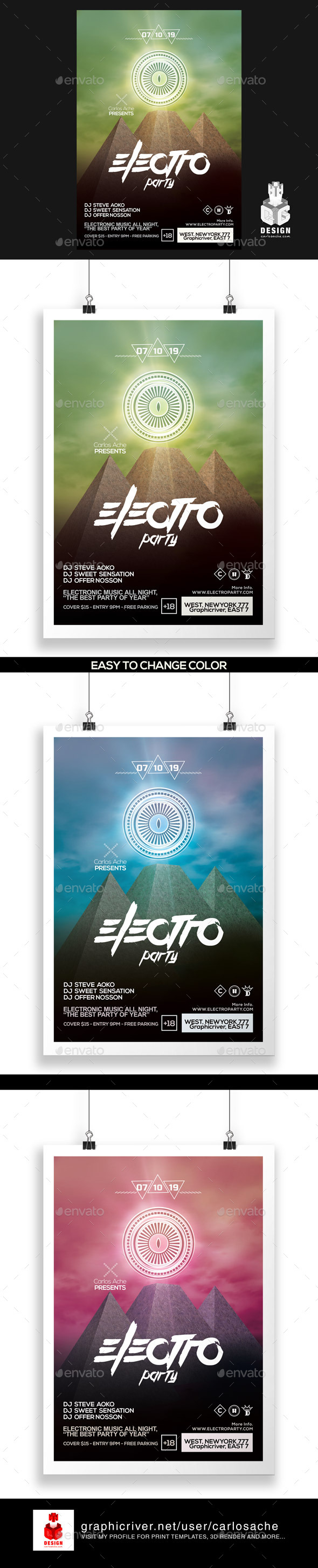 Electro Party Flyer - Poster Template - Clubs & Parties Events