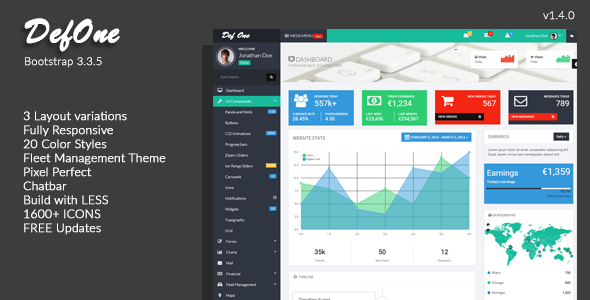 DefOne – Responsive Bootstrap 3 Admin Template