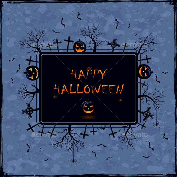 Halloween Banner on Grunge Background - Halloween Seasons/Holidays