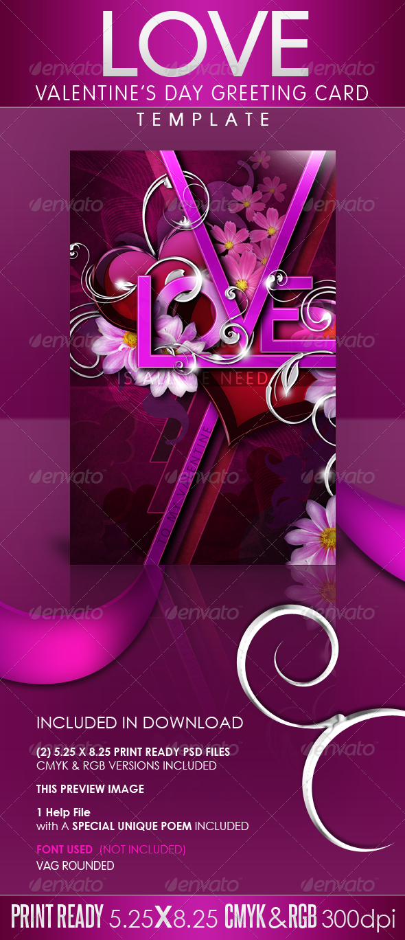 LOVE - Valentine's Day Greeting Card Template - Greeting Cards Cards & Invites