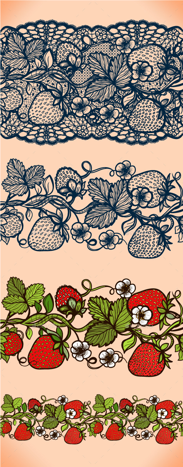 Abstract Seamless Lace Pattern with Strawberry - Patterns Decorative