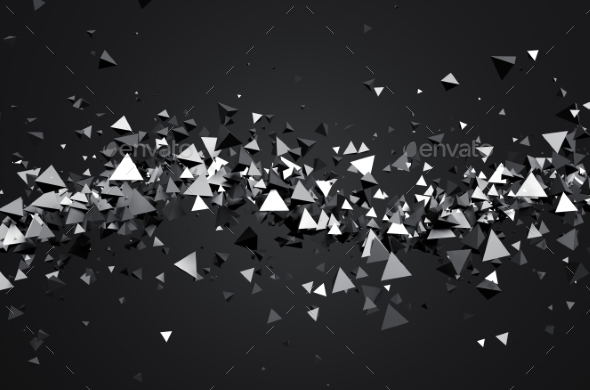 Abstract 3D Rendering Of Flying Pyramids - Abstract 3D Renders
