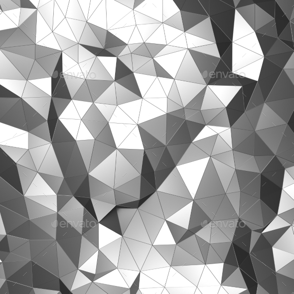 Abstract 3D Rendering Of Low Poly Chrome Surface - Abstract 3D Renders