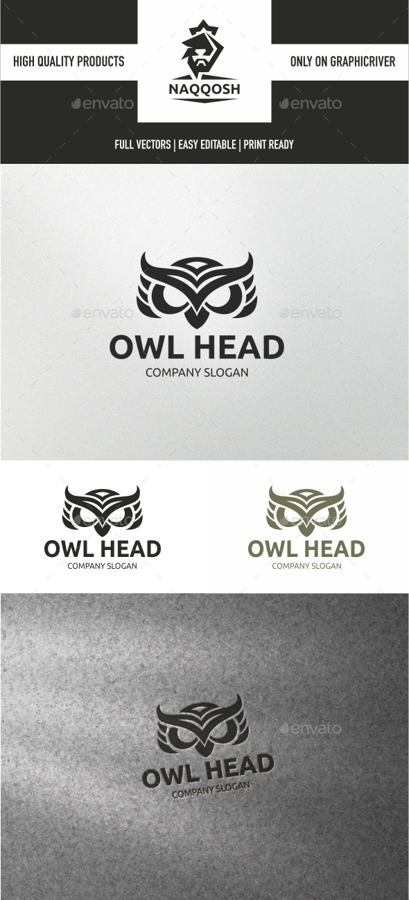 Owl Head - Animals Logo Templates