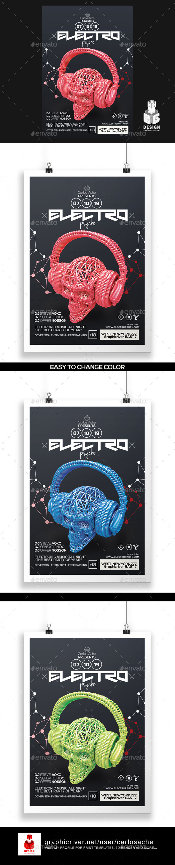 Electro Psycho Poster - Flyer Template - Clubs & Parties Events