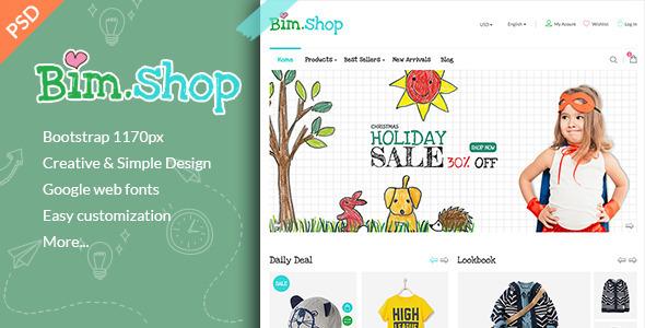 Bimshop – Kidstore PSD Template
