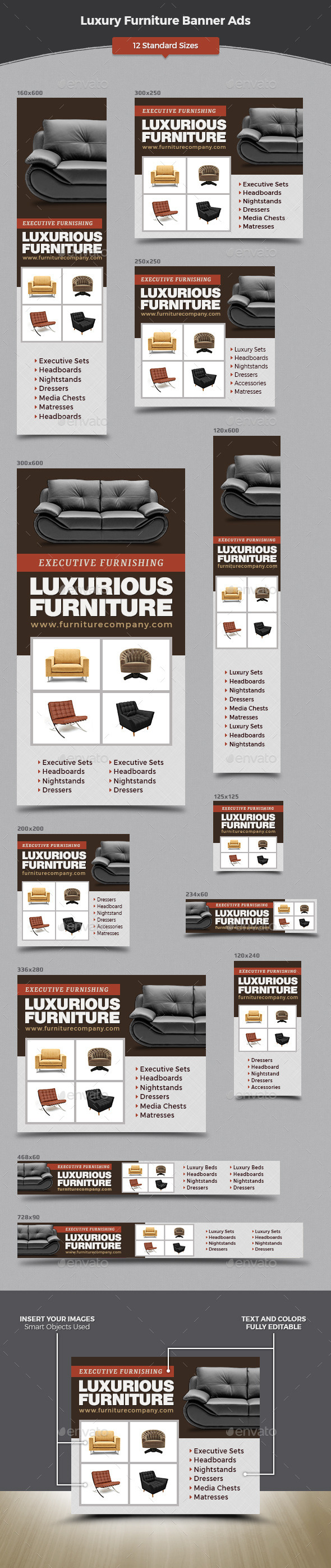 Luxury Furniture Banner Ads Set - Banners & Ads Web Elements
