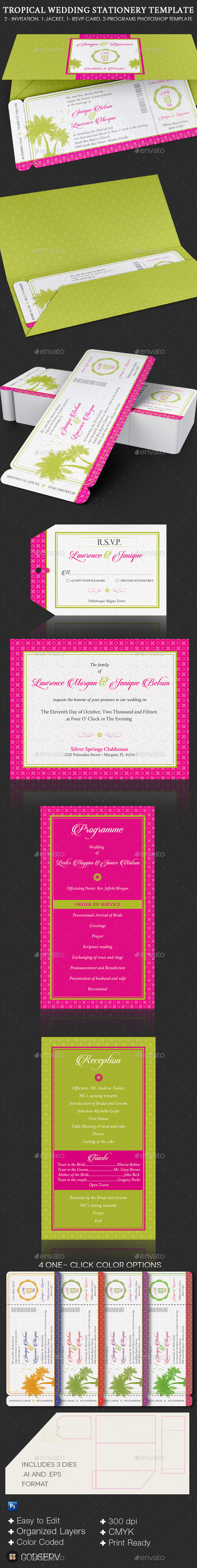 Tropical Wedding Stationery Template Set - Weddings Cards & Invites