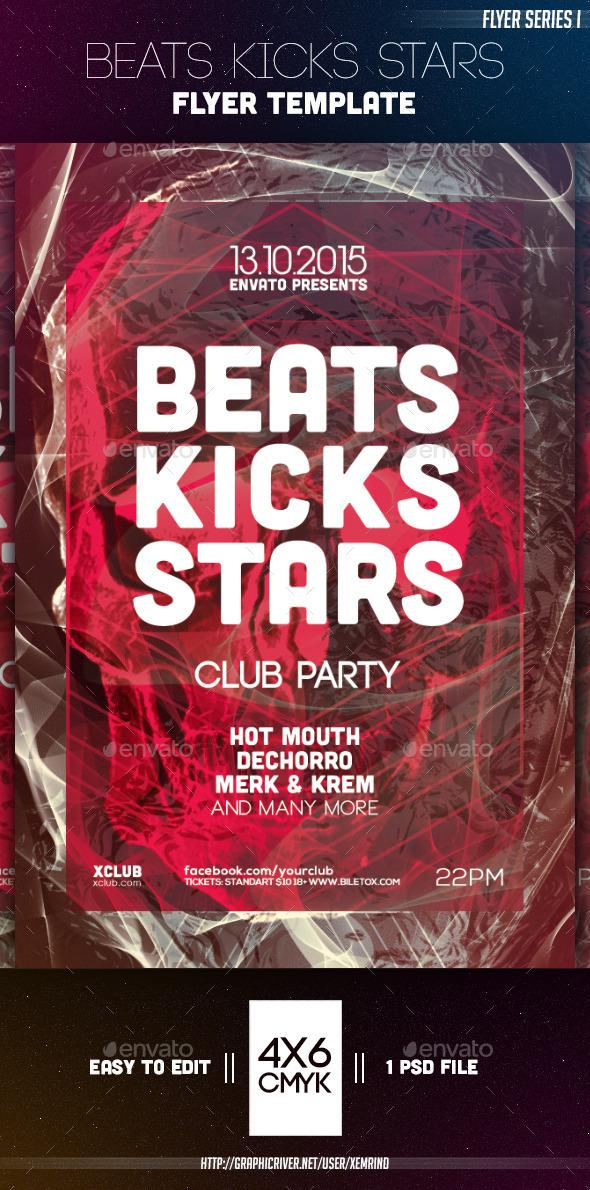 Beats Kicks Stars Flyer Template - Clubs & Parties Events