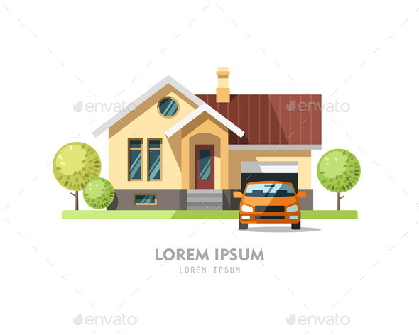 House Facade. Traditional Cottage. - Buildings Objects
