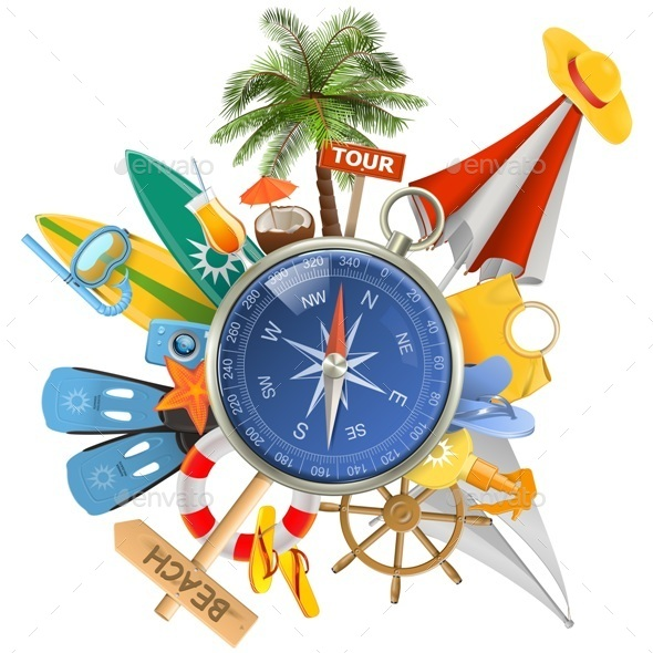 Vector Beach Concept with Compass - Travel Conceptual