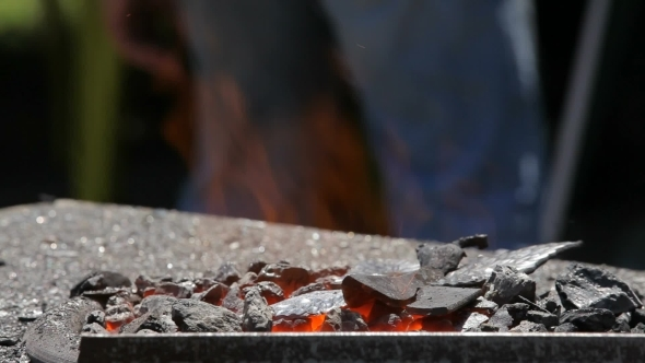 Forge With Hot Faring Coal