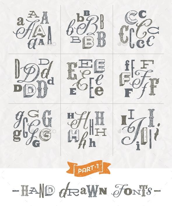 Set of Hand Drawn Fonts - Part one - Vectors
