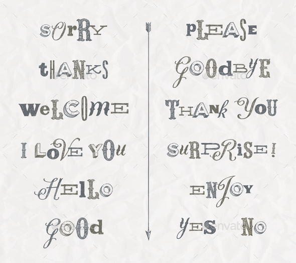 Hand Drawn Phrases and Words - Vectors
