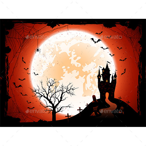 Halloween Background with Castle - Halloween Seasons/Holidays