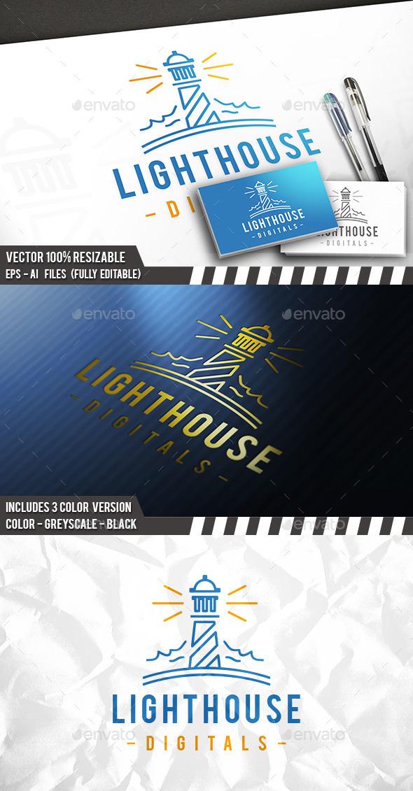 Lighthouse Line Logo - Nature Logo Templates