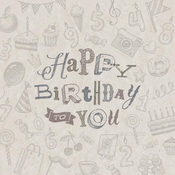 Hand Drawn Happy Birthday Greeting Card - Birthdays Seasons/Holidays