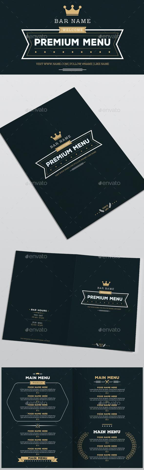 Premium Food Menu - Food Menus Print Templates