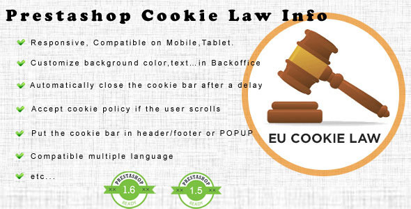 Prestashop Cookie Law Module - Prestashop EU Cookie Law - CodeCanyon Item for Sale