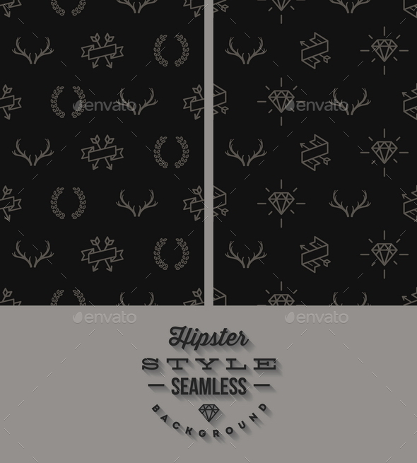 Two Black Hipster Style Seamless Background - Backgrounds Decorative