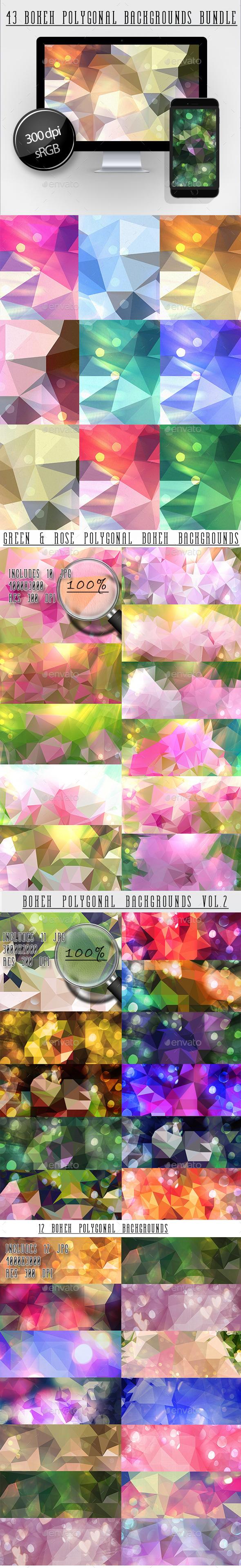 Bokeh Polygonal Backgrounds Bundle - Abstract Backgrounds