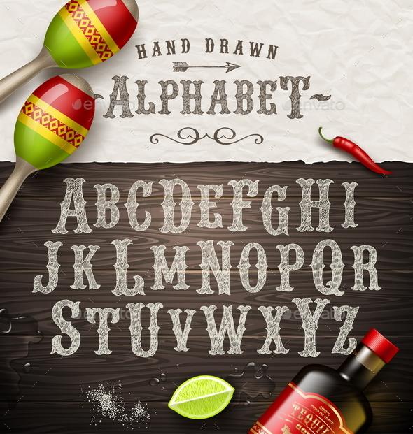 Vector Hand Drawn Vintage Alphabet - Vectors